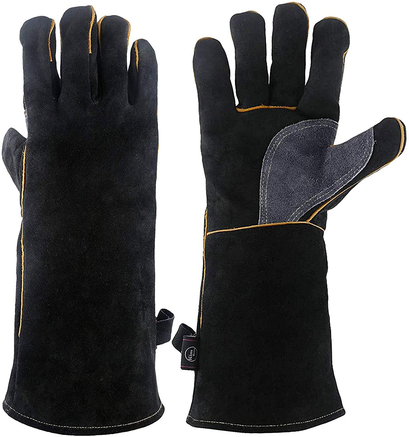 KIM YUAN Extreme Heat Fire Resistant Gloves Leather with Kevlar Stitching, Mitts Perfect for Welding